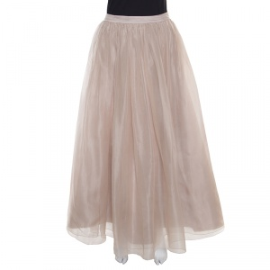 Alice + Olivia Beige Silk Organza Gathered Abella Ballgown Skirt S