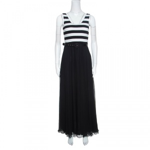 Alice + Olivia Monochrome Striped Knit Bodice Detail Belted Maxi Dress M