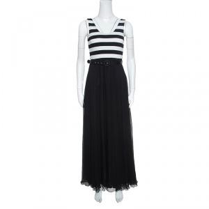 Alice + Olivia Monochrome Striped Knit Bodice Detail Belted Maxi Dress M