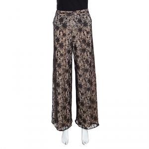 Alice + Olivia Black Lace Overlay High Waisted Wide Leg Trousers S