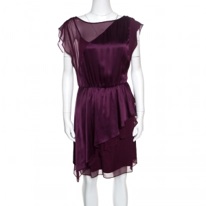 Alice + Olivia Purple Silk Satin and Chiffon Layered Dress S