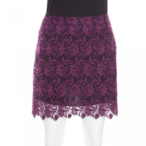 Alice + Olivia Plum Lace Riley Mini Skirt S