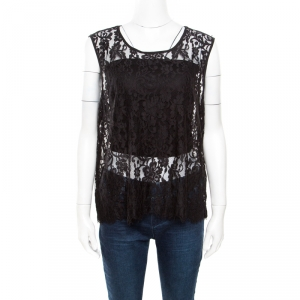 Alice + Olivia Black Floral Lace Scalloped Trim Detail Sleeveless Top L