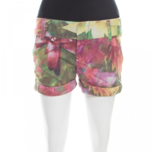 Alice + Olivia Multicolor Flower Printed Cotton Stretch Cuffed Hem Shorts XS - used
