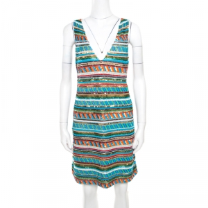 Alice + Olivia Multicolor Embellished V-Neck Sleeveless Venetia Dress M