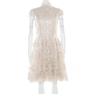 Alice + Olivia Beige Embroidered Cutout Back Detail Natalina Dress S