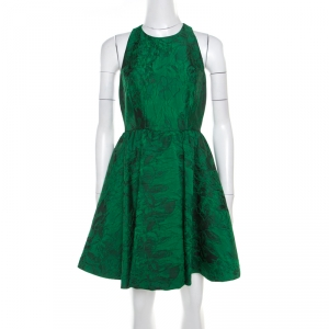 Alice + Olivia Emerald Green Floral Jacquard Racerback Tevin Mini Dress S