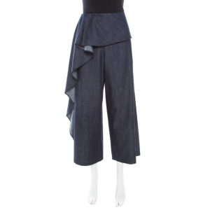 Alice + Olivia Indigo Dark Wash Denim Ruffle Detail Cropped Elvira Culottes L