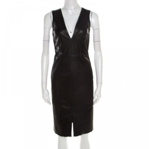Alice + Olivia Black Leather Cutout Back Detail Sleeveless Corwin Dress S