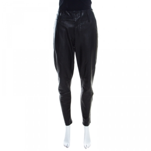Alice + Olivia Black Leather Paneled Tapered Pants S