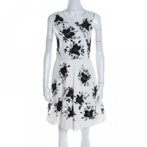 Alice + Olivia Monochrome Floral Sequined Silk Sleeveless Lillyanne Dress M used