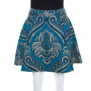 Alice + Olivia Blue Damask Patterned Brocade Vernon Mini Skirt XS
