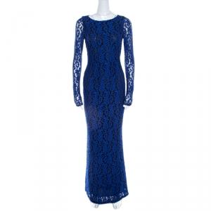 Alice + Olivia Cobalt Blue Lace Long Sleeve Flared Maryanna Maxi Dress XS - used