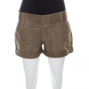 Alice + Olivia Taupe Green Leather Cuffed Shorts S - used