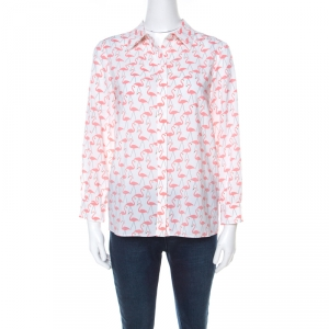 Alice + Olivia White Garden Flamingo Print Sheer Silk Willa Shirt S