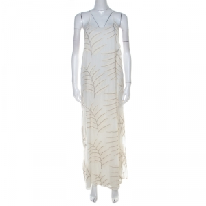 Alice + Olivia Off White Embroidered Silk Kelly Halter Maxi Dress M