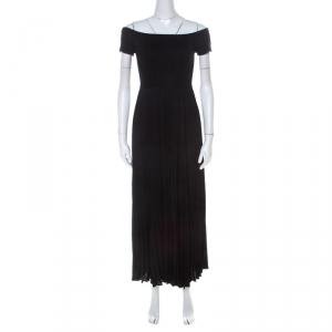 Alice + Olivia Black Jersey and Chiffon Off Shoulder Ilana Maxi Dress S