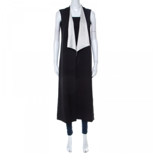 Alice + Olivia Black Drape Front White Collar Detail Long Vest Jacket M