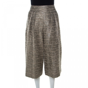 Alice + Olivia Gold & Beige Cotton-Blend Bouclé-Tweed Culottes S