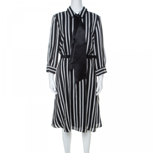 Alice + Olivia Employed Monochrome Striped Silk Necktie Detail Belted Dress L - used