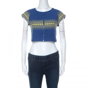 Alice + Olivia Blue Cotton Cap Sleeve Zip Front Woven Amy Crop Top M