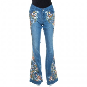 Alice + Olivia Blue Denim Embellished Flared Ryley Jeans M