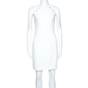 Alice + Olivia Off White Crepe Pearl Detail Kristiana Dress S