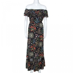 Alice + Olivia Black Floral Print Stretch Off Shoulder Maxi Dress M