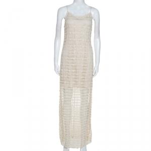 Alice + Olivia Cream Crochet Anora Maxi Dress M - used