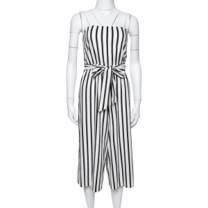 Alice + Olivia Monochrome Linen Lucie Gaucho Jumpsuit XS - used