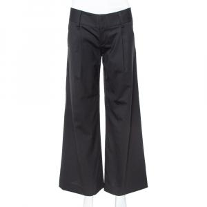 بنطلون آليس + اوليفيا أرجل واسعة كريب صوف أسود مقاس صغير (سمول)