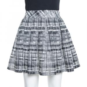 Alice + Olivia Monochrome Textured Lurex Wool Pleated Mini Skirt S