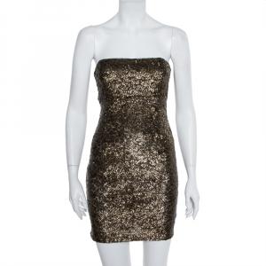 Alice + Olivia Gold Sequin Embellished Strapless Mini Dress S - used