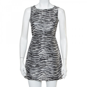 Alice + Olivia Monochrome Metallic Jacquard Sleeveless Everleigh Mini Dress S