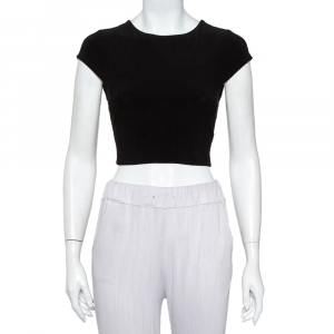 Alice + Olivia Black Knit Back Open Detail Short Sleeve Crop Top XS