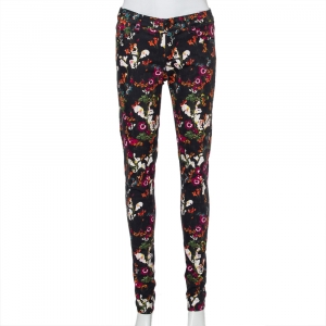Alice + Olivia Black Floral Printed Denim Skinny Fit Jeans S