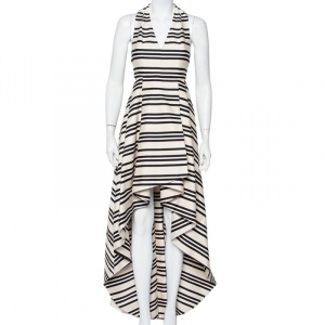 Alice + Olivia Beige & Black Striped Cotton Pleated High Low Hem Aveena Gown S - used