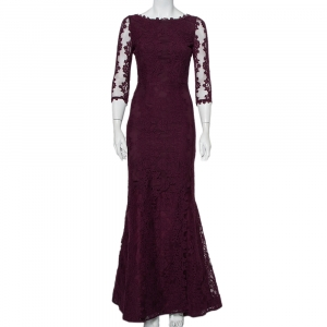 Alice + Olivia Purple Lace Open Back Fishtail Detail Gown S - used