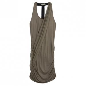 Alice + Olivia T-back Drape Khaki Green Silk Cotton Dress M