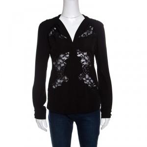 Altuzarra Black Floral Lace Insert Long Sleeve Shirt S