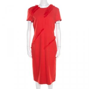 Altuzarra Poppy Red Frayed Trim Crepe Strider Dress L