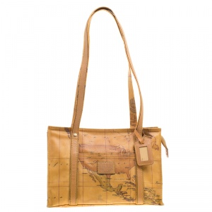 Alviero Martini 1A Classe Map Printed Coated Canvas Tote