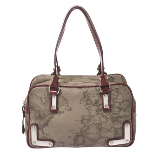 Alviero Martini 1A Classe Grey/Red Coated Canvas and Patent Leather Satchel