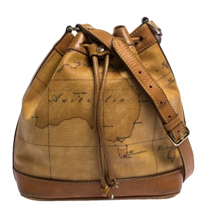 Alviero Martini 1A Classe Brown Geo Print Coated Canvas and Leather Bucket Bag