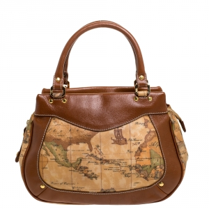 Alviero Martini 1A Classe Tan Geo Print Coated Canvas and Leather Satchel