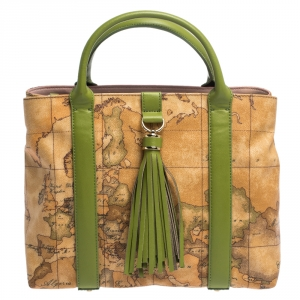 Alviero Martini 1A Classe Green/Brown Geo Print Coated Canvas and Leather Tassel Tote