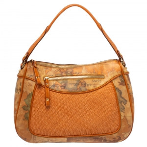 Alviero Martini 1A Classe Orange Geo Print Coated Canvas and Woven Leather Front Pocket Hobo