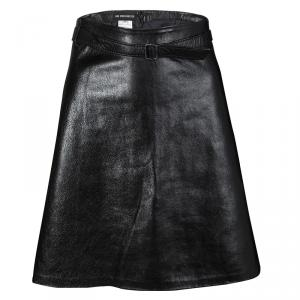Ann Demeulemeester Black Leather Belted Skirt L