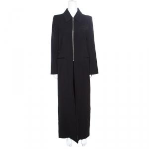 Ann Demeulemeester Black Wool Gabardine Zip Front Slit Detail Overcoat L