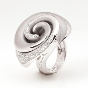 Annamaria Camilli Black Rose Diamond White Gold Ring Size 56